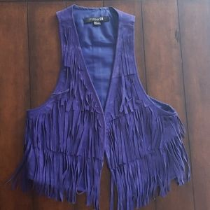 Purple fringe vest size Small
